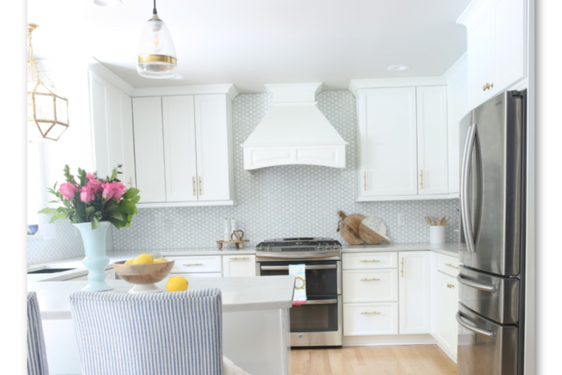 Get all of the details of our Classic White Kitchen Remodel including before and after photos and links to all of our light fixtures, furniture, accessories and rugs!