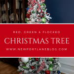 Our red, green & flocked Christmas tree