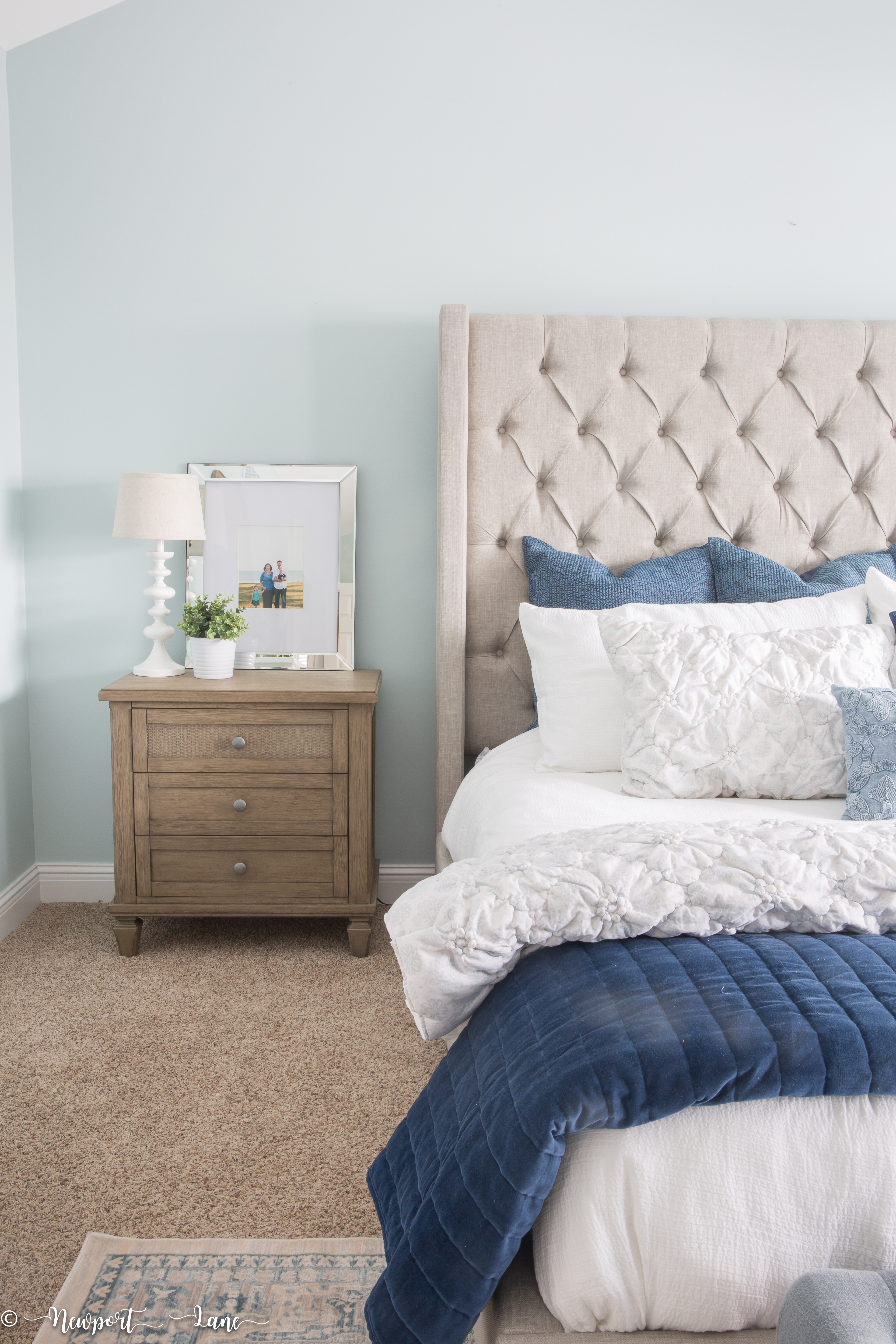 Our California Coastal Bedroom Makeover is full of soothing blue and whites and coastal touches
