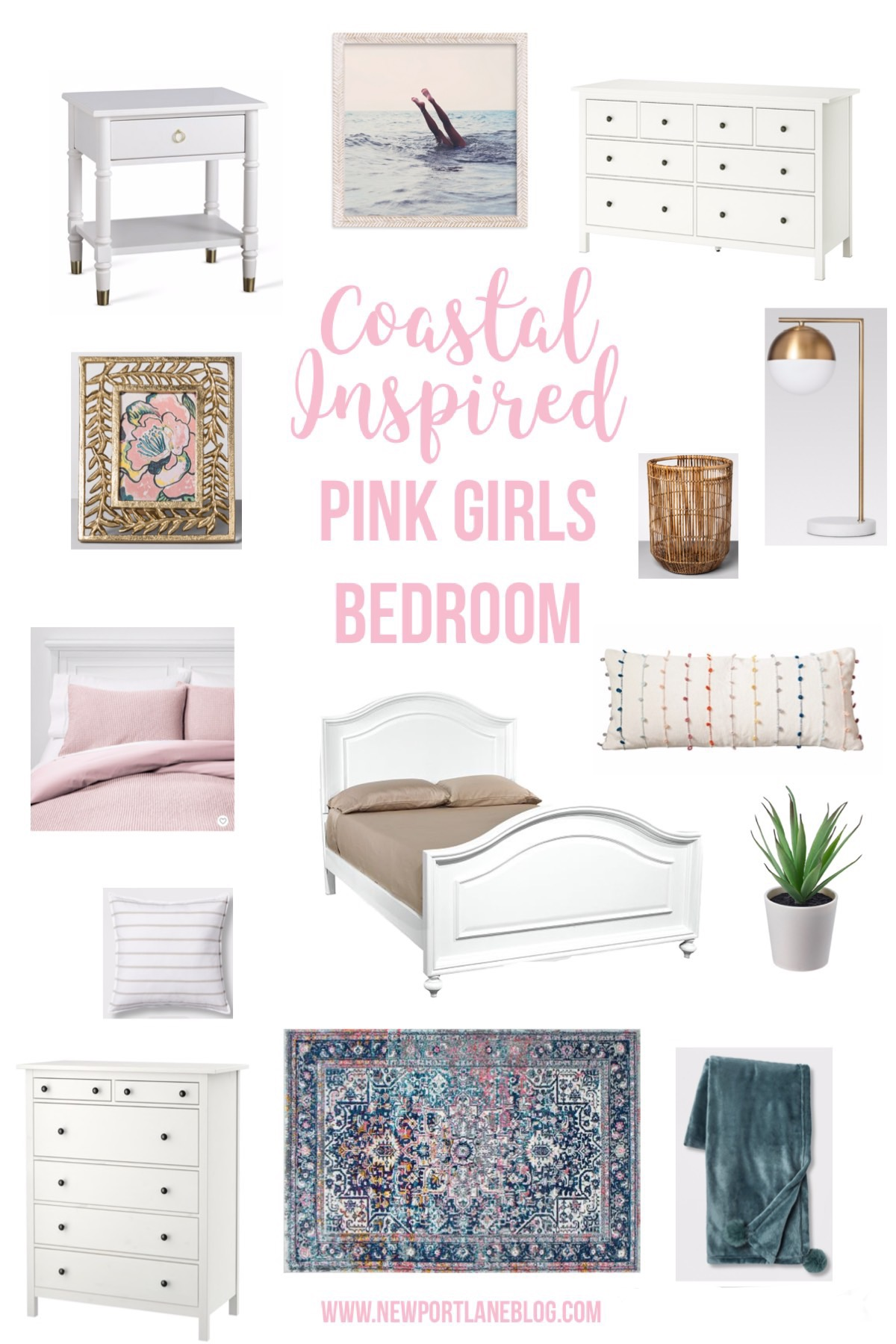 Coastal Inspired Pink Girls Bedroom Ideas. Light and bright girly bedroom ideas. #girlsbedroomideas #pinkbedroom #decor