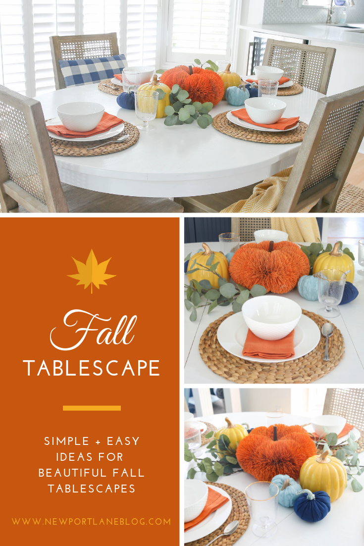 Simple + easy orange, yellow and blue autumn centerpiece ideas. Read this post for simple + easy ideas for a fall tablescape ideas. #fall #simple #tablescape #autumncenterpiece