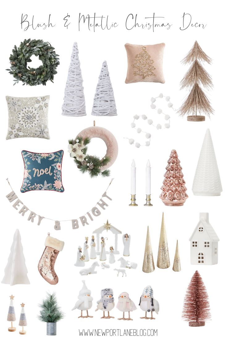 The ultimate guide to the very best blush and metallic Christmas decorations! #christmas #christmasdecor #blushdecor