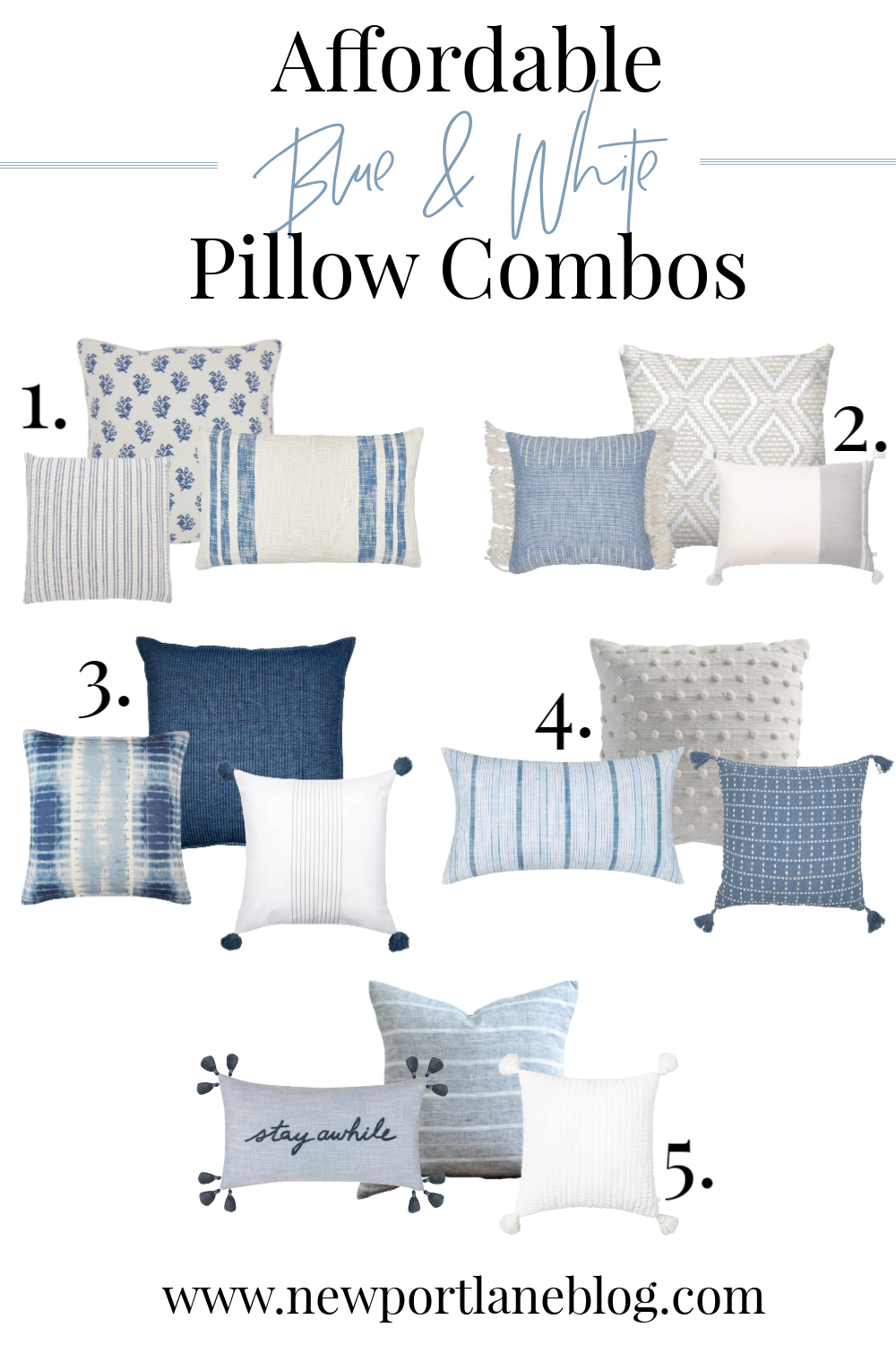 Affordable Blue and White Pillow Combos with a Coastal Touch