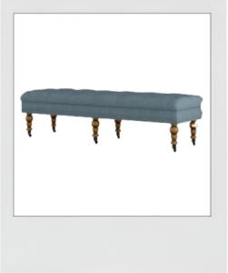Upholstered Blue Bench