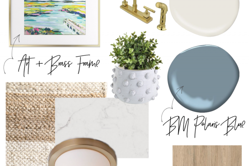 A soothing and calming coastal laundry room mood board with brass fixtures, crisp white walls and blue cabinets.