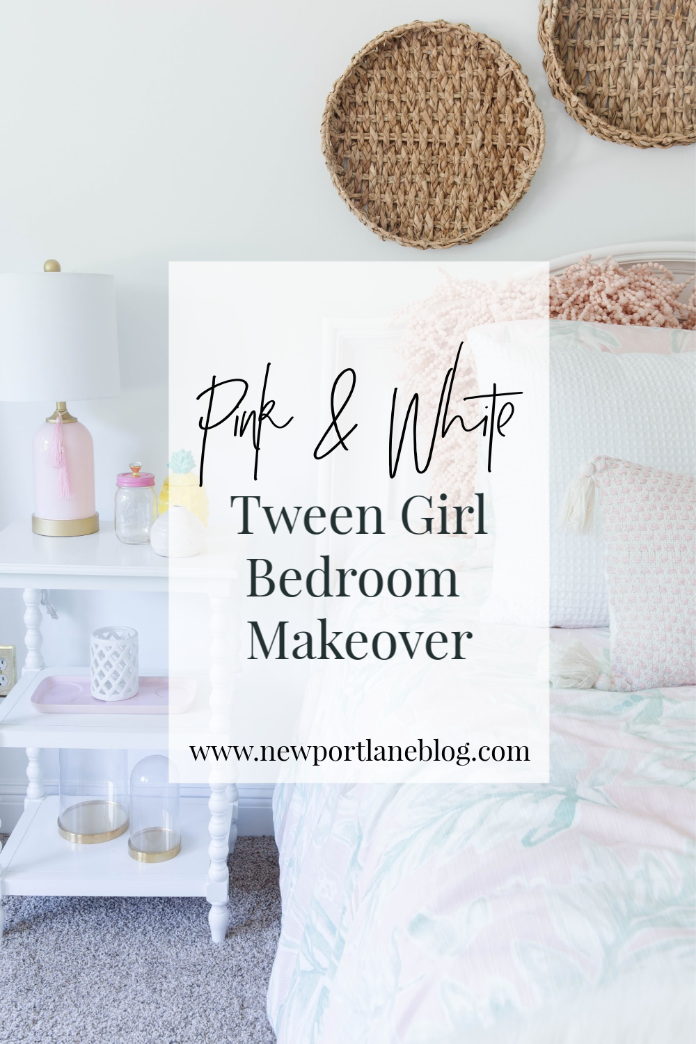 This tween bedroom makeover features coastal decor with pink, white and rattan accents - all done on a budget!