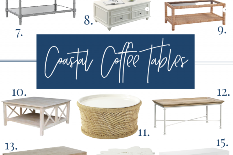 A beautiful roundup of white, driftwood and natural coastal coffee tables, perfect for a coastal home. #coastaldecor #coffeetables #beachdecor