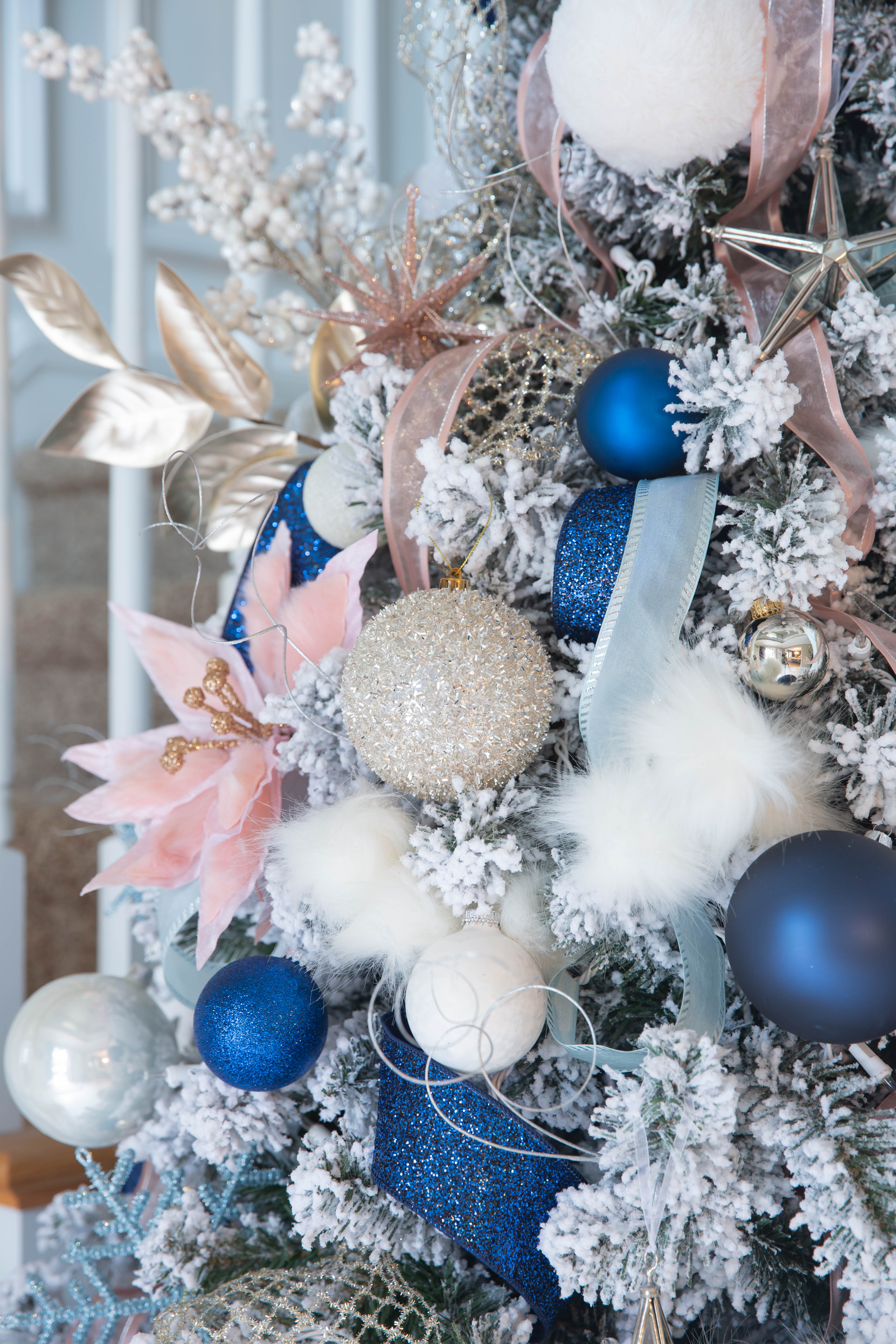Pink and Navy Christmas Tree - Pink and Navy Christmas Decorations - Pink and Navy Christmas - Pink and Navy Tree Decorations - Navy Blue and Pink Christmas Tree - Navy Pink Christmas Tree - Navy Blue and Blush Pink Christmas Tree - Navy Pink Gold Christmas Tree - Blush Pink and Navy Christmas Tree