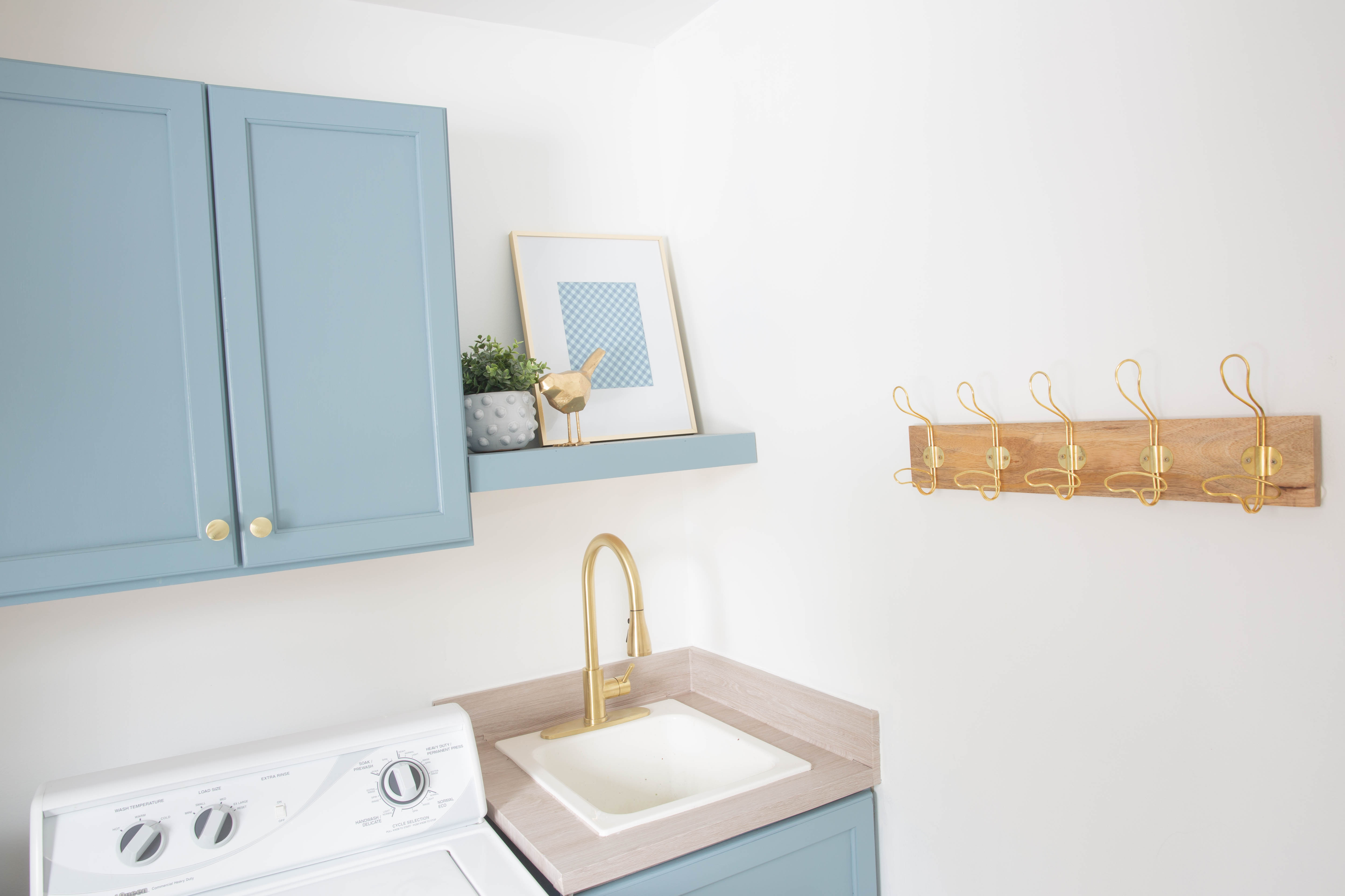DIY Laundry Room Makeover - Blue Laundry Room Cabinets - Light Blue Laundry Room Cabinets - DIY Laundry Room - Small Laundry Room Makeover - Laundry Room Makeover on a Budget