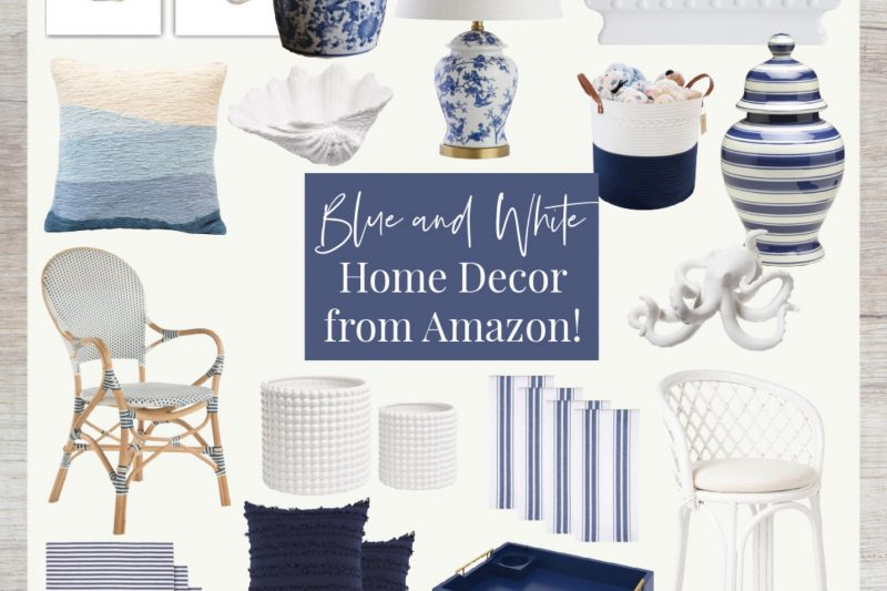 Blue and White Home Decor | Blue and White Coastal Home Decor | Amazon Home Decor | Blue and White Decor from Amazon | Grandmillenial Style Home Decor | Beach House Decor | Lake House Decor | Rattan Furniture