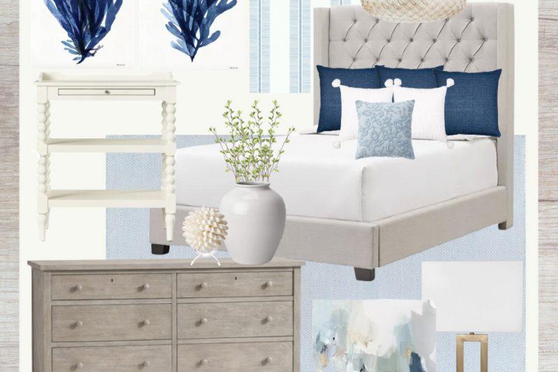 Coastal Bedroom Mood Board - Grey Upholstered Bed Frame - Grey Dresser - White Nightstand - Blue Artwork - Blue Striped Wallpaper - Coastal Artwork - Coastal Bedroom Decor Ideas - Coastal Master Bedroom Decor - Blue Master Bedroom Decor - Blue Bedroom Decor
