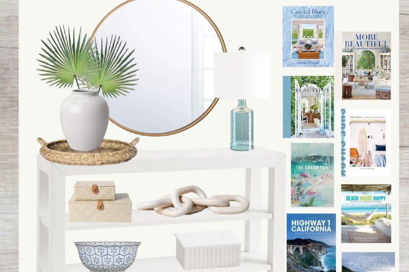 Coastal Console Table Styling Ideas - Coffee Table Books - Coastal Home Decor - Coastal Foyer Styling - Foyer Styling Tips - Coastal Home Decor Ideas