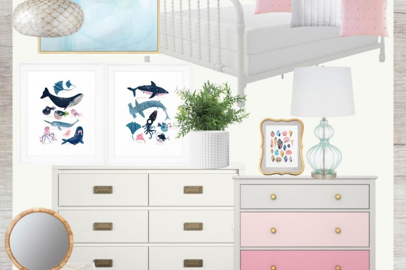 Beach Themed Bedroom for Girls | Coastal Girls Bedroom | Pink and Turquoise Bedroom Ideas | Pink and Turquoise Room Decor | Beach House Bedroom