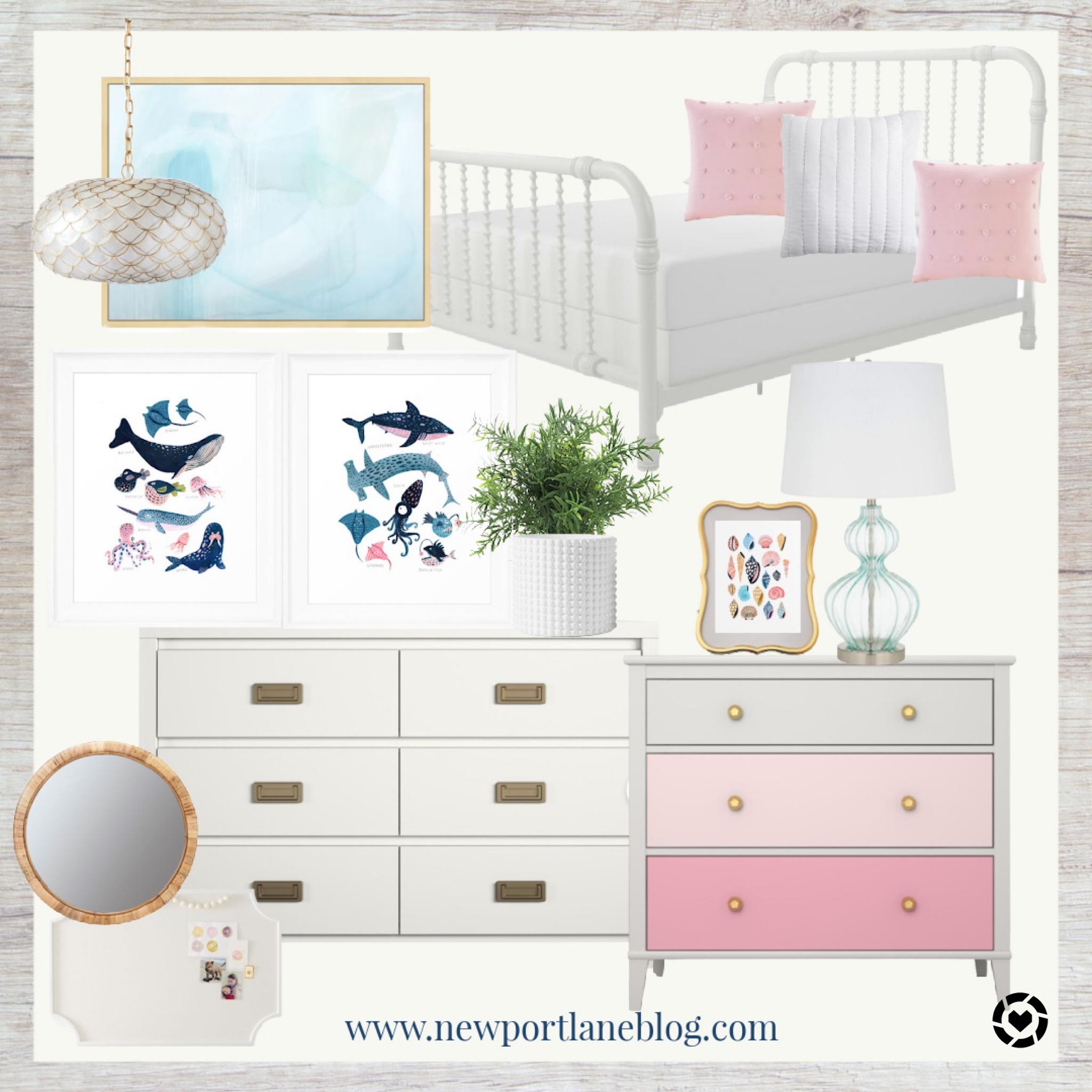 Beach Themed Bedroom for Girls   Coastal Girls Bedroom   Pink and Turquoise Bedroom Ideas   Pink and Turquoise Room Decor   Beach House Bedroom