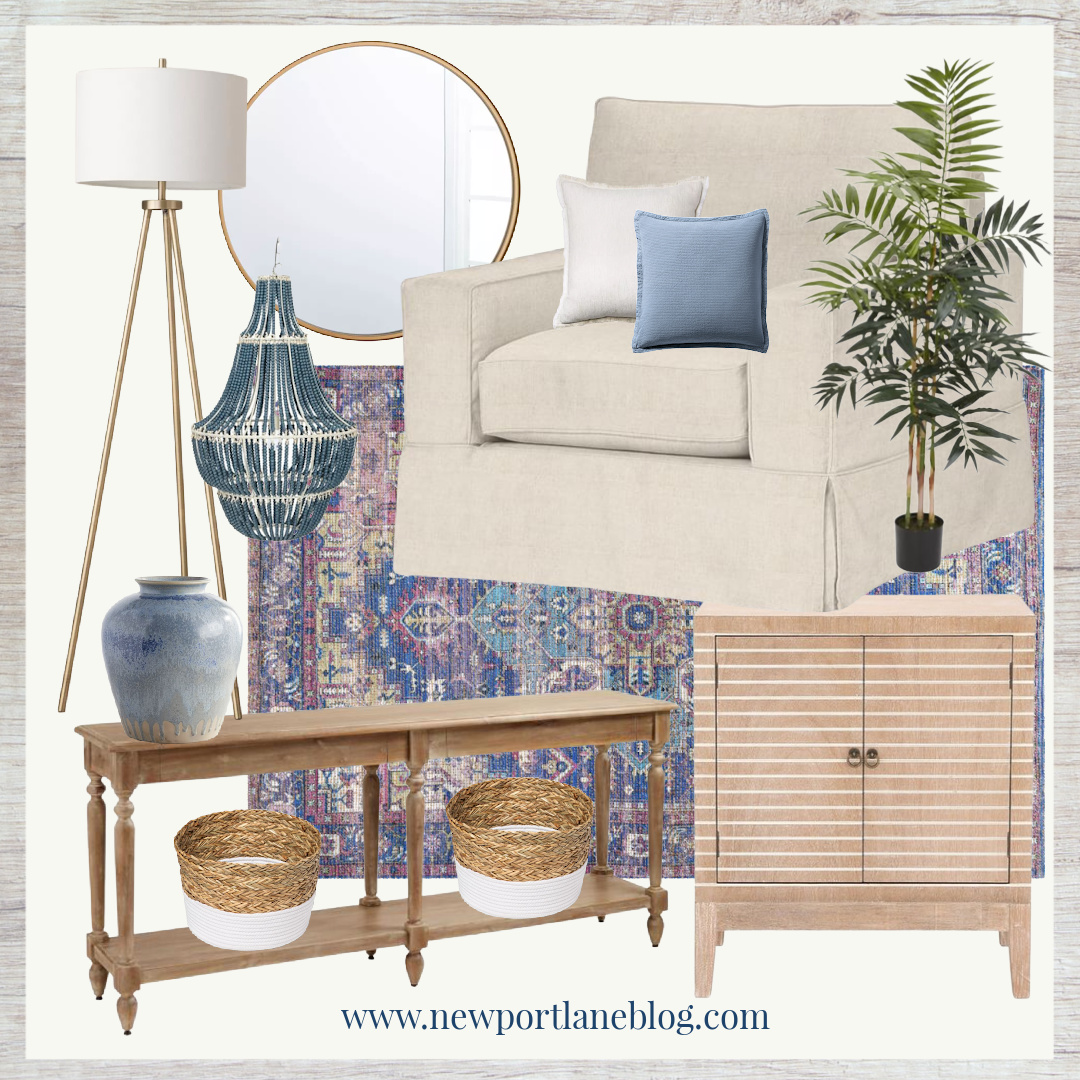 Modern Coastal Room Design - Modern Coastal Home Decor - Blue and Purple Home Decor - Coastal Home Decor - Coastal Room Design - Coastal Family Room