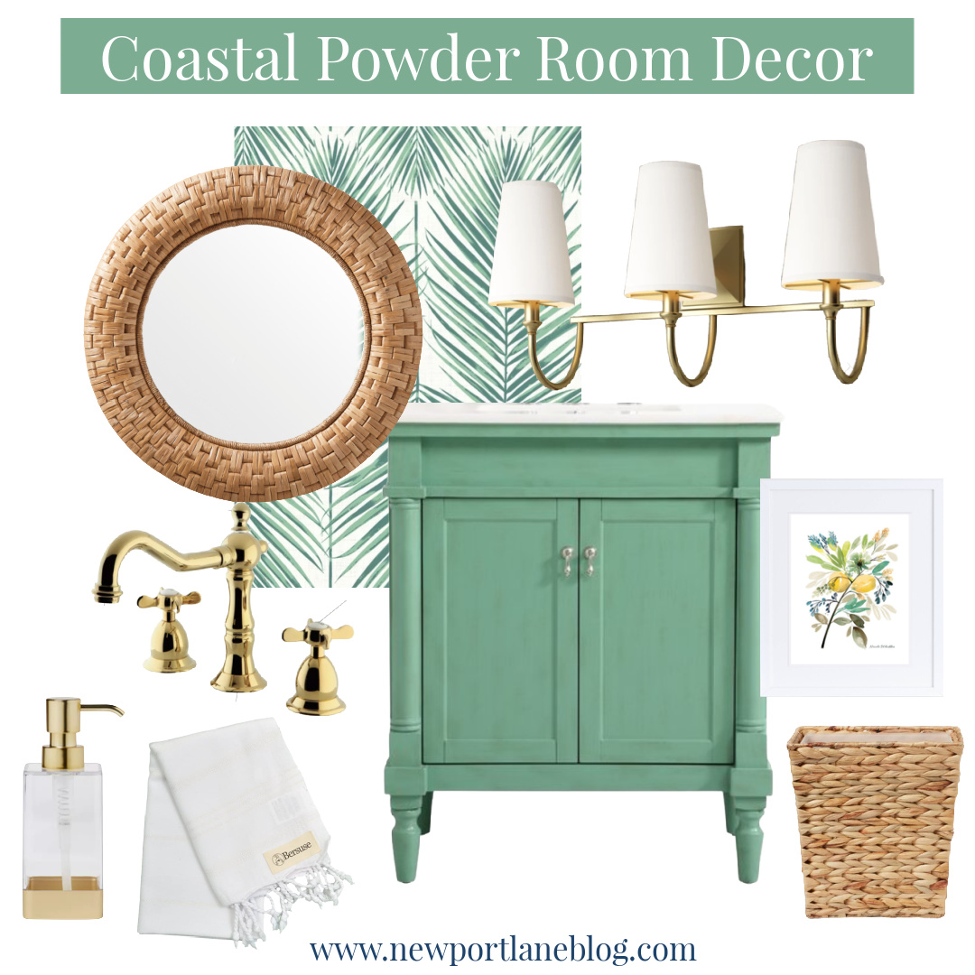 Coastal Powder Room - Green Powder Room - Rattan Powder Room Accessories - Green Palm Leaf Wallpaper