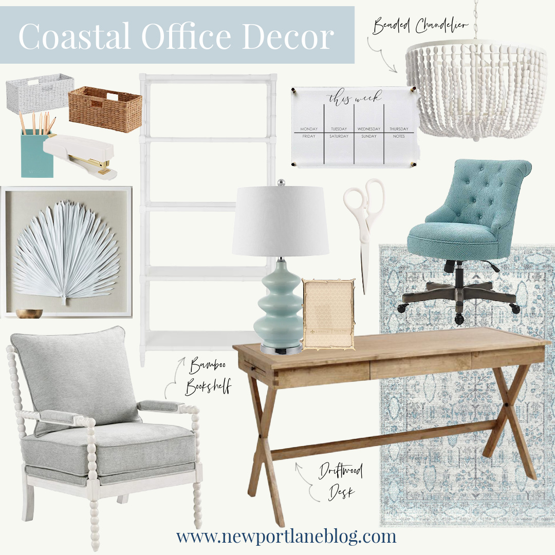Coastal Office Decor - Blue Office Decor - Modern Coastal Office Decor - Coastal Office Ideas - Beach Office Ideas - Coastal Home Office Ideas - Coastal Office Furniture