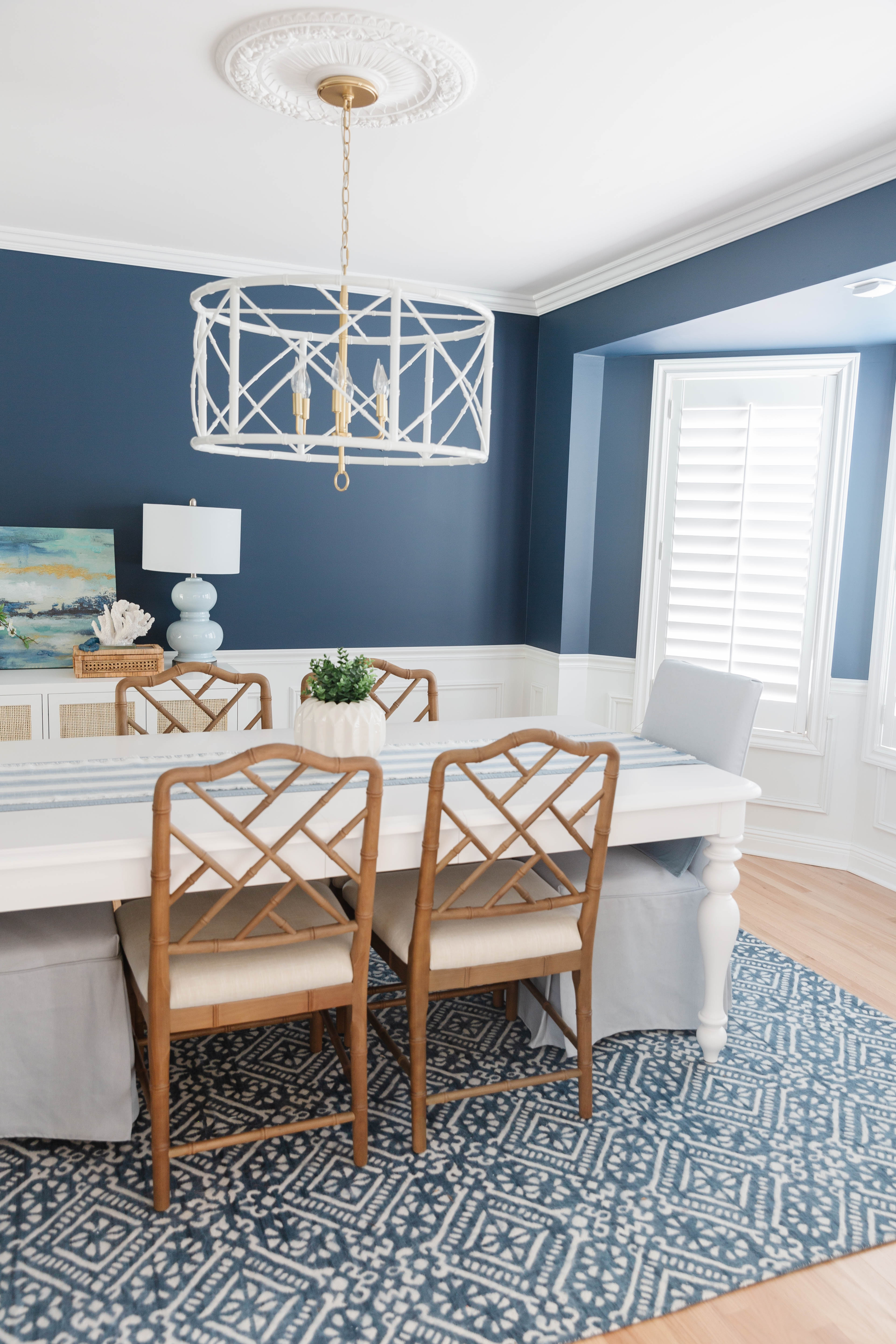 Navy Dining Room - Hale Navy Dining Room - Navy Blue Dining Room with Wainscoting - Blue Dining Room Chairs - Navy and White Dining Room - Navy Dining Room Chairs - Navy Blue Dining Room Set - Navy Dining Room Rug - Benjamin Moore Hale Navy Dining Room - Coastal Dining Room Decoration Ideas - Modern Coastal Dining Room