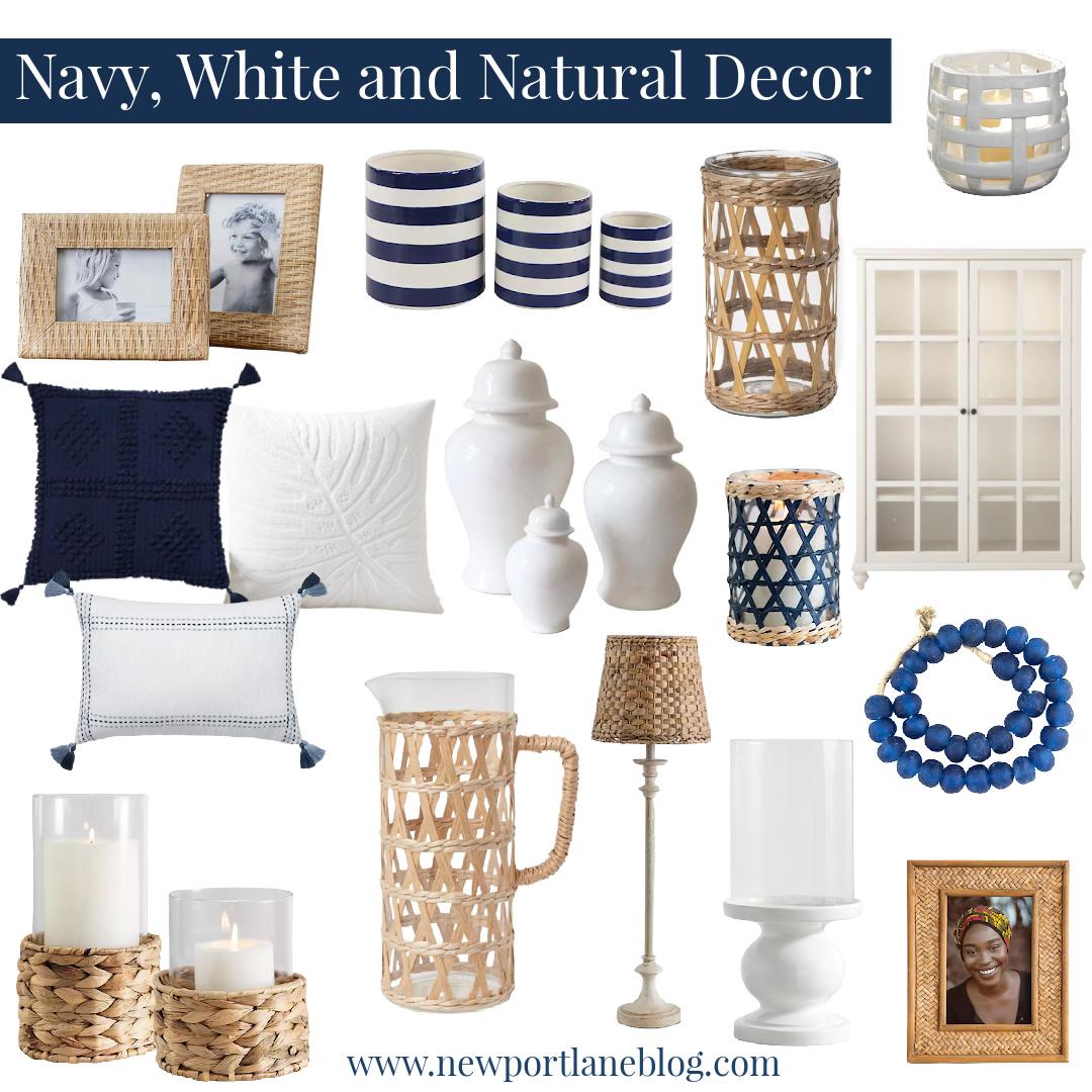 Navy Home Decor | White Home Decor | Natural Home Decor | Cane Home Decor | Rattan Home Decor | Natural Home Decor Textures