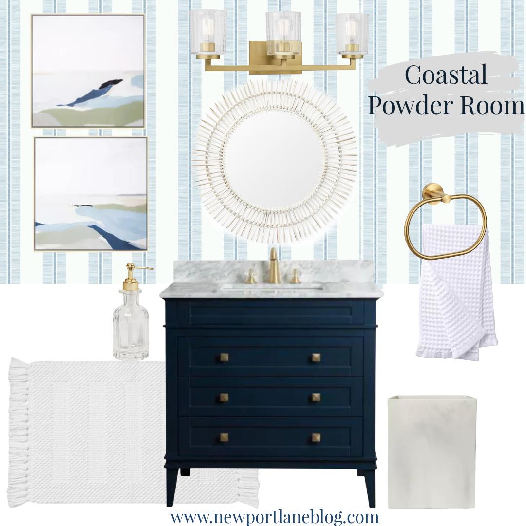 Coastal Powder Room - Navy Powder Room - Rattan Powder Room Accessories - Blue Striped Wallpaper - Brass Powder Room Accessories - Blue and White Coastal Powder Room