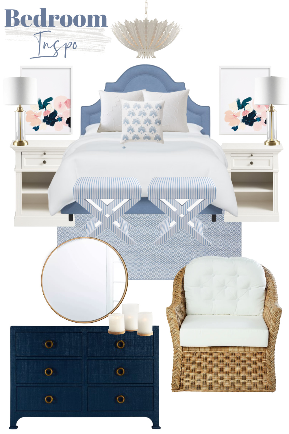 Blue Bedroom | Coastal Bedroom | Navy and Pink Bedroom | Light Blue Bed | X-Benches | Rattan Armchair | Serena and Lily | Blue Dresser | Round Brass Mirror | White Nightstand