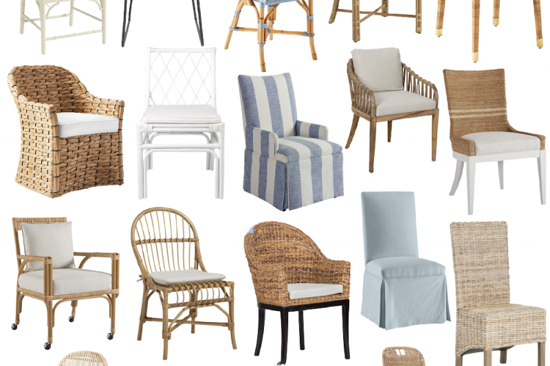 A roundup of the prettiest coastal dining chairs for every budget! #diningchairs #coastal #diningroom