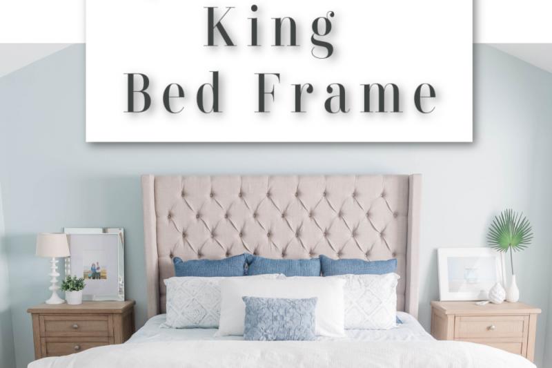 Upholstered King Bed Frame - Grey Upholstered Bed Frame - King Size Bed Frame - Upholstered Queen Bed Frame
