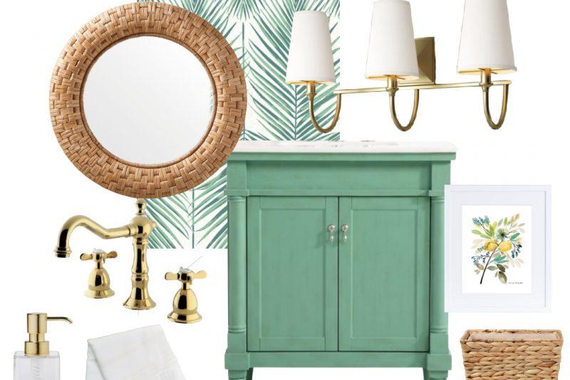 Coastal Powder Room - Green Powder Room - Rattan Powder Room Accessories - Green Palm Leaf Wallpaper